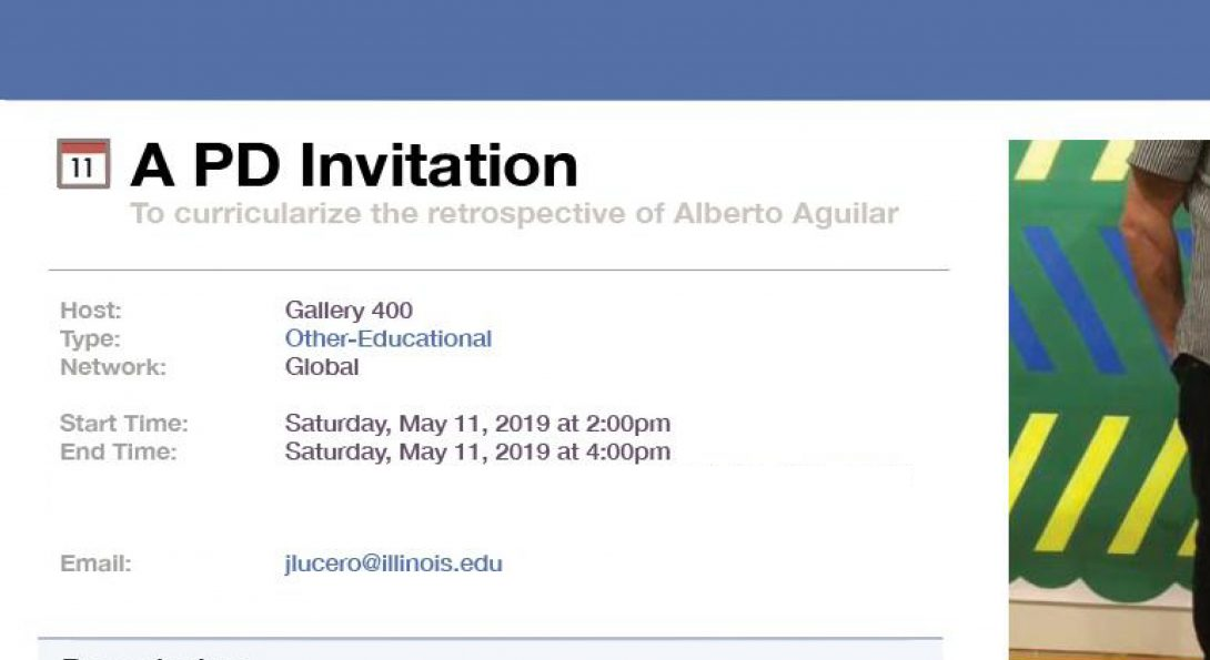 """A photograph of a facebook invitation. From a computer screen, the invite says """"A PD Invitation""""."""
