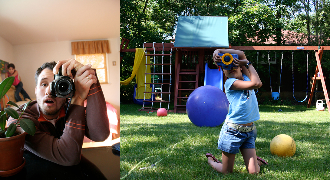 Two photographed next to one another. In the photograph to the left, there is a middle-aged person holding a camera to their eye. In the photograph to the right, there is a young-aged person in a park, holding a camera to their eye in the same position.