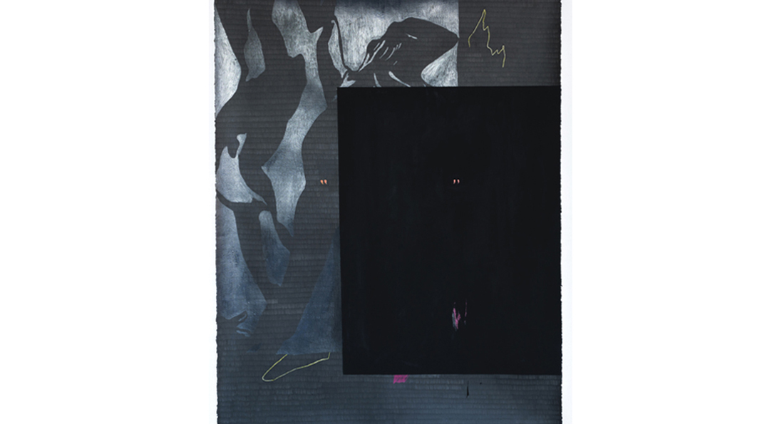 A photograph of a work on paper. Taller than it is wide, colors of black and grey created an abstracted, fluid design in the background. In the foreground on the right side of the image, a darker square of black color is placed. Small lines of yellow peak through the top right and bottom left corners.