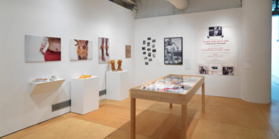 An installation photograph of the gallery space. On the left wall, three digital photographs of clothing are pinned to the wall. Below each photograph is a pedestal where the particular clothing piece is placed. On the right wall, a dozen small black and white photographs are placed on the wall in a collage formation. Next to this formation is a large, 2x3 foot, black and white photograph of a middle-aged person speaking into a microphone, on the right of this photograph is an even larger print of a poster with black and red text. In the open space between the two gallery walls is a wooden and glass vitrine where multiple documents are showcased.