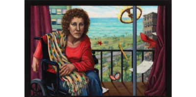 A photograph of a painting. On the left side of the painting, a middle aged person is sitting in a wheelchair looking directly at the viewer. They are wearing a red sweater and holding a printed blanket. Behind them is a balcony from an apartment building with maroon drapes pushed to the sides. Outside the balcony is a green, park landscape with two other apartment buildings, a street, and a lake. On the right side of the painting, a red show, a makeup mirror, a pencil, a star, and a letter, and a wheel on fire are falling in the air.