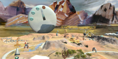 A photograph of a virtual reality installation scene. The background is designed in a brush-like texture of three brown and orange triangle-shaped mountains, the center one being the brightest and most vivid. A large, grey circular object is in front of the mountain landscape, with markings of a clock. In front of the large object stands before a desert trenches and hills landscape, with multiple smaller objects situated throughout.