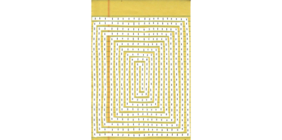 A photograph of a drawing on yellow writing paper. The drawing is a white, optical illusion that swirls from the ends of the paper, to the center in a rectangular formation. In the white space of the lines are black dots, each about a centimeter apart from another.