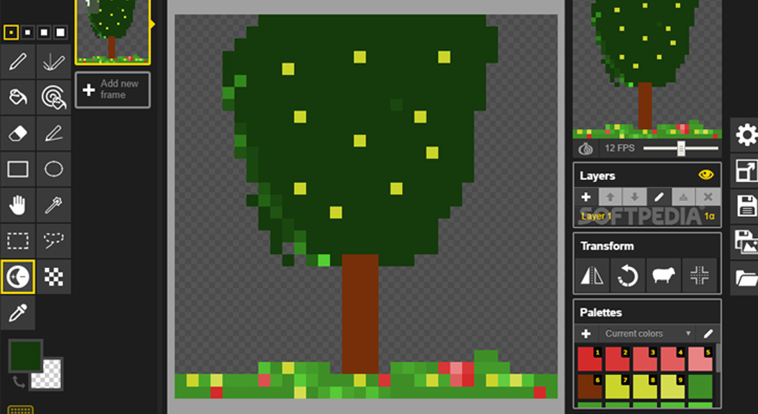 A screen-shotted image of a pixelated computer screen.The pixelated image is of a drawing software, in the center there is a bright green tree.