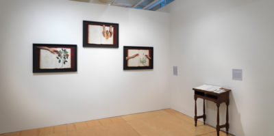 An installation photograph of two, white gallery walls that meet in a corner. On the left wall, a tryptic of three photographs of identical size and black frame are played in a horizontal line. Each photograph is of a pair of hands reaching into an open book. Each book has a different floral design. On the right wall is a small, dark, wooden desk about two feet wide. An open book with white pages is placed on the desk.