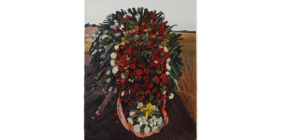 A painting of a large floral arrangement composed of red, white, and yellow flowers, such as roses, on top of a burial mound, expanding over almost the entire canvas. Behind the floral arrangement, called a Corona, is a flat, wheat landscape. Red flowers primarily occupy the presentation of the floral arrangement. White flowers and green leaves are surrounding the red flowers. The heavy texture of the floral arrangement is protruded from the surface of the canvas, creating a three-dimensional effect.