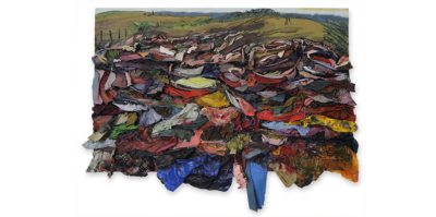 Along with a prairie background, this large painting has multi colored textured acrylic paint films protruding out of the bottom of the canvas, stacked like folded clothing. The sizes of the acrylic films at the lower part are larger in size, are adhered to the bottom and hang off the canvas bottom end. As the stack reaches the upper part of the canvas, the layered pieces become smaller, giving a value of distance.