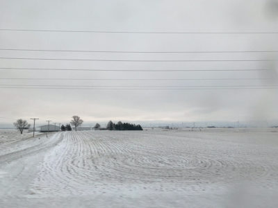 A photograph of a snowy, flat, farming field landscape during the winter season. The entire field is covered in snow, in which the break between sky and land meets in the middle. Houses, trees, and wind turbines can be seen far from the camera's view, in shades of white and grey.