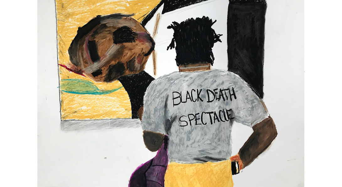 """A drawing of a middle-aged person standing in front of a painting on the wall. The back of the person's shirt has the text, """"Black Death Spectacle""""."""