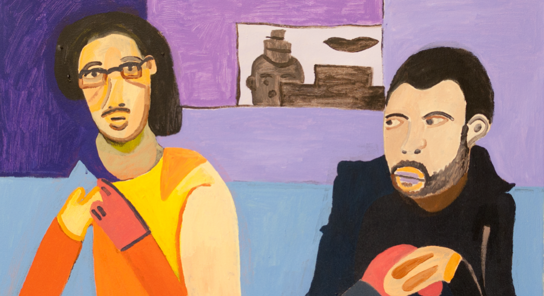 A drawing of two middle-aged people, sitting on a blue couch. The person on the left is looking at the viewer, and the person on the right is looking at the person to the left. The background are walls in different shades of purple.