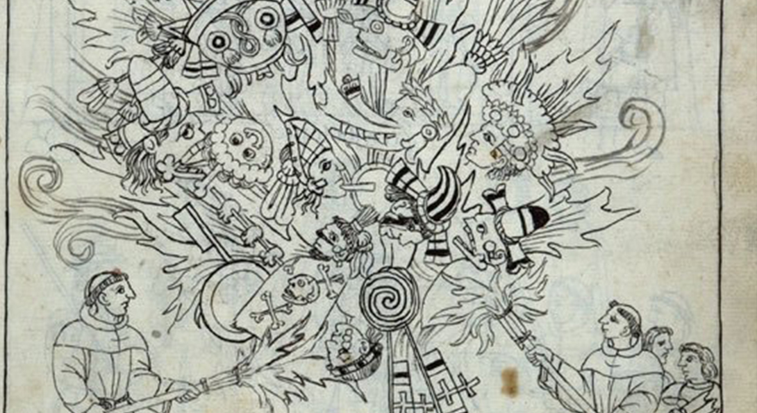 A black ink drawing on white paper. The scene on the paper is of two people holding fire weapons. In the center, there is a group of figures inside of the fire.