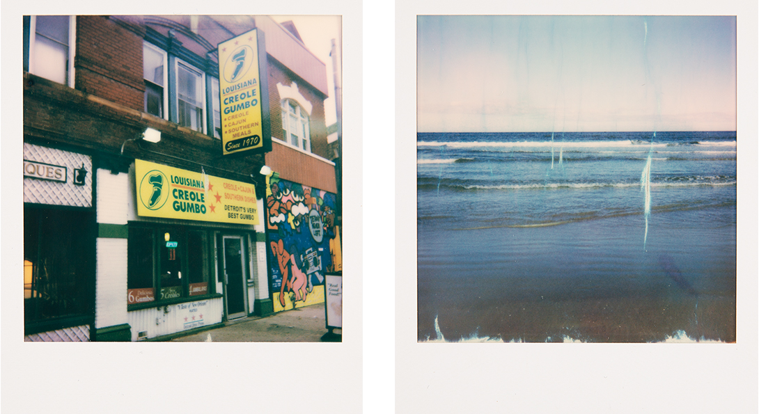 Two side by side polaroid photographs. The left side polaroid is a store front for a gumbo restaurant. The polaroid on the right is of ocean waves.