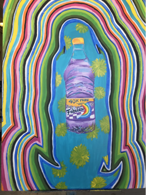 An oil painting of a Fabuloso purple cleaning bottle that is shown in front of a blue background with painted sunflowers. The background follows the shape of the bottle about two times the size of the bottle with triangular protrusions coming out from the bottom of both sides. The bottle and blue and sunflower background are outlined with multi-colored lines of blue,green,pink, yellow, white, orange and black that fill up the rest of the canvas.