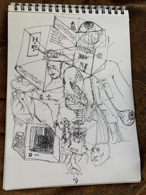 """Sketchpad on top of wooden background. Starting from the upper-left corner of the sketchpad, inside a 3D box outline shows a hand, with the text """"GREAT"""" over it, holding a fork to an electrical outlet in the left-inner panel adjacent to written text on the box's right inner-surface face, """"against reason, against promise, against peace, against hope, against happiness, against all discouragement"""". Under the hand shows a person's head and face. On the box's left-outer surface face has the text, """"EXPECTATIONS"""". Connected to the top of the inner-right side of the box is a short regularcular-shaped box outline with the same connected outer face that says, """"HAPPY ENDING"""". There is a large eyeball floating inside with a small sitting figure at the back of the box. The eyeball is connected to a person wearing a pocketed shirt, text """"OLD MAN"""" above the pocket, with a """"MONEY STORE """"BANK"""""""" box as their head in between the eyeball on body There is another eyeball, trailing down from the bottom of the box-head, next to a side-profile of a woman's face. To the left of the woman's face is another box outline with a skeleton inside. On top of the skeleton is a pair of eyes, with a long spinal cord with a pair of denture teeth attached on top, above the two smaller skeletons, that is going up outside the box. The box also has """"BONE"""" on the back inner right face, and """"Box +"""" on the inside bottom. Below the box are lightning clouds and rain, with a person holding an umbrella underneath it. To the right of the clouds is a head of a person, eyes looking up. Continued to the left and a bit upwards of the box are two small figures sitting on top of a big lip.They are also positioned underneath the first """"Expectations"""" box. There are storm clouds with lightning, with the sun above the clouds to the left of the figures and lips. Below both images is a TV box with the text """"SOAP BOX,"""" following along the top of the outer-left face and then up along the lower left corner of the top."""