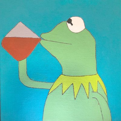 2D Painting of a left-side profile of Kermit the Frog holding a rectangular shaped mug with his right arm to his lips, drinking the tea in front of a cyan blue colored background.