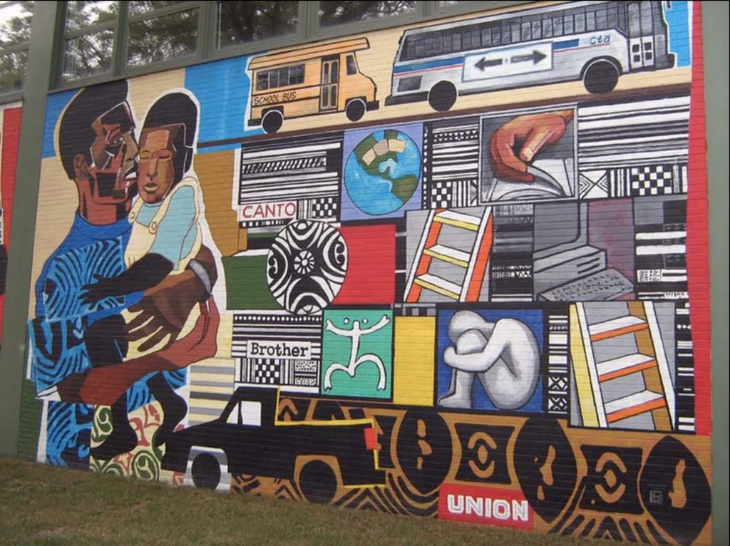A mural depicting a black man with a child in his arms on the left and a variety of images including a school bus, a CTA bus, a globe with a bandaid on it, a ladder, and a portion of a computer, in a grid pattern to the right.