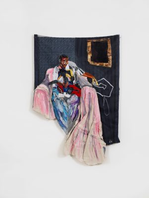 An embroidered piece on a window screen of a black man sitting on the left with multi-colored stitches outlining the clothes and body. To the top right is a small brown frame stitched to the material with a dark brown and black abstract painting.