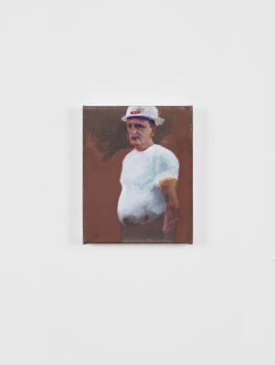 """A small size portrait painting of an older man in a white t-shirt and a hardhat with the letters """"KBR"""" on it. The rustic brown brush strokes separates the background from the man's body."""