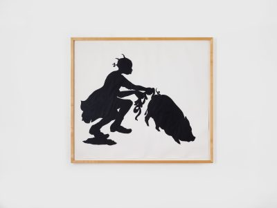 This paper collage in black and white shows a silhouette of a sitting girl pulling out the intestines from a pig's rectum.