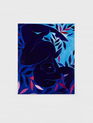 A painting of a dark blue-skinned bald woman is upside down in a twisted pose surrounded by dark blue, pink, and red kelp leaves against a dark and light blue background.