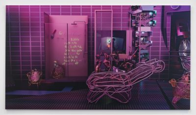 Purple toned photo of an installation.