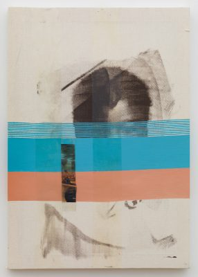 Silk screen of a face in black and white with a blue and orange line obscuring it.